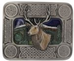 Stag Celtic Belt Buckle with display stand